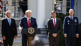 Tổng thống Mỹ Donald Trump phát biểu tại lễ ra mắt Bộ Chỉ huy không gian SpaceCom ở Washington DC. Ảnh: TTXVN