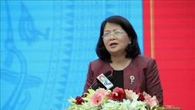 Phó Chủ tịch nước Đặng Thị Ngọc Thịnh phát biểu tại Hội nghị. Ảnh: TTXVN