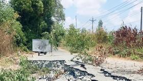 Hiện trường sụp lún ở huyện U Minh Thượng