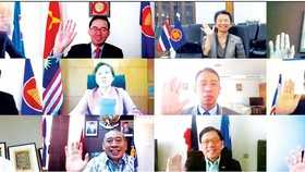 Đại sứ các nước ASEAN, New Zealand và đại diện Ban thư ký ASEAN tham dự cuộc họp lần thứ 8.  Ảnh: TTXVN