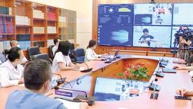 Một buổi hội chẩn qua hệ thống Telehealth giữa bệnh viện tuyến trên và tuyến dưới