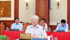 Tổng Bí thư, Chủ tịch nước chủ trì buổi làm việc của Tập thể Bộ Chính trị với Ban Thường vụ Đảng ủy Công an Trung ương