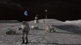 Hình ảnh mô phỏng con người xây dựng các công trình nghiên cứu trên mặt trăng. Ảnh: NASA