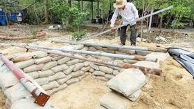 Gia đình ông Phạm Ngọc Diễn (thôn Hà Bình, xã Bình Minh, huyện Thăng Bình,  tỉnh Quảng Nam) làm hầm tránh bão. Ảnh: THỦY TIÊN