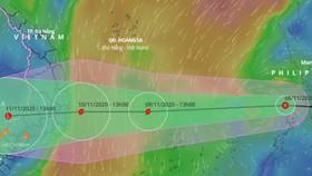 Dự báo đường đi của áp thấp nhiệt đới trên Biển Đông trong những ngày tới. Ảnh: VNDMS