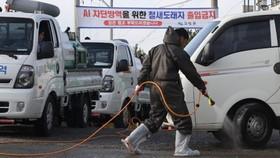 Phun thuốc khử trùng nhằm ngăn chặn sự lây lan của virus cúm H5N6 tại Goseong, tỉnh Nam Goseong, Hàn Quốc. Nguồn: YONHAP