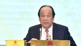 Bộ trưởng, Chủ nhiệm VPCP Mai Tiến Dũng phát biểu tại buổi họp báo. Ảnh: VGP