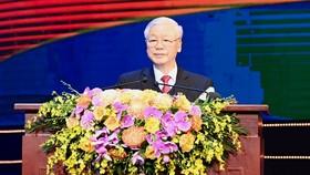 Tổng Bí thư, Chủ tịch nước Nguyễn Phú Trọng phát biểu tại lễ kỷ niệm. Ảnh: VIẾT CHUNG