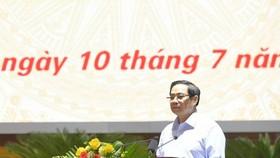 Thủ tướng Phạm Minh Chính phát biểu tại lễ phát động tiêm vaccine Covid-19. Ảnh: VIẾT CHUNG