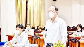 Phó Bí thư Thành ủy TPHCM Nguyễn Hồ Hải  phát biểu tại buổi sơ kết. Ảnh: THÁI PHƯƠNG