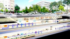 Phối cảnh ga ngầm tuyến metro Bến Thành - depot Long Bình. (ảnh: Ban quản lý Đường sắt đô thị TPHCM)