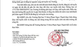 Bộ GD-ĐT yêu cầu Trường ĐH Y khoa Phạm Ngọc Thạch thực hiện đúng đề án tuyển sinh đã công bố