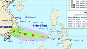 Bão số 1 (Bolaven) giật cấp 10 hướng vào vùng biển Phú Yên - Vũng Tàu
