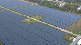 Hệ thống điện mặt trời tại huyện Đức Hòa, Long An. Ảnh: CAO THĂNG