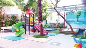 Không gian xanh thoáng mát dành cho các bé Trường Worldkids