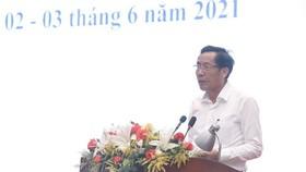 Chủ tịch Hội Nhà báo Việt Nam Thuận Hữu phát biểu Tổng kết chấm chung khảo Giải báo chí Quốc gia lần thứ XV - năm 2020. Ảnh: TTXVN