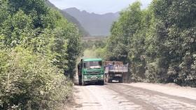 Đường vào thôn Quyết Thắng, xã Trường Xuân,  huyện Quảng Ninh, tỉnh Quảng Bình bị cày nát. Ảnh: MINH PHONG