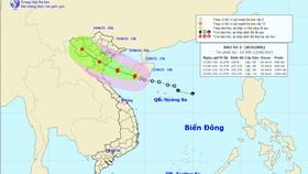 Vị trí và đường đi của bão số 2. Ảnh: TTDBKTTVTW