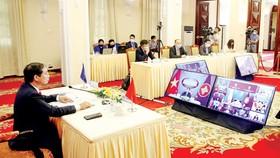 Bộ trưởng Bộ Ngoại giao Bùi Thanh Sơn tham dự hội nghị  theo hình thức trực tuyến