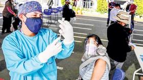 Tiêm vaccine Covid-19 tại Peru. Ảnh: AP