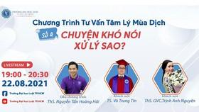 Poster chương trình tư vấn tâm lý mùa dịch số 4 của Trường Đại học Luật TPHCM