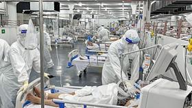 Y, bác sĩ chăm sóc bệnh nhân Covid-19 tại Bệnh viện Quận Tân Phú.  Ảnh: Hoàng Hùng