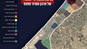 Một bản đồ minh họa cho thấy nơi hệ thống 'Tàu điện ngầm' của Hamas đã đi qua ở Dải Gaza và những khu vực đã bị IDF phá hủy. (@ IDF SPOKESMAN'S UNIT)