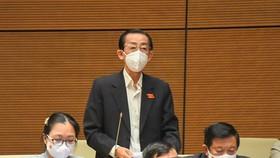 Đại biểu Trần Hoàng Ngân nhấn mạnh cần tạo thuận lợi cho vắc xin nội sớm được cấp phép khi đã đảm bảo an toàn. Ảnh: Quochoi.vn