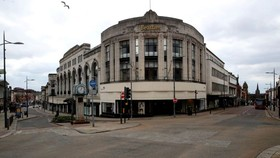 Empty streets around a department store in Wolverhampton, central England. PHOTO: NICK POTTS/PA WIRE/ZUMA PRESS
