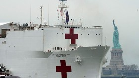 The USNS Comfort has been deployed to New York to help out with the coronavirus pandemic. PHOTO: BRYAN R. SMITH/AGENCE FRANCE-PRESSE/GETTY IMAGES