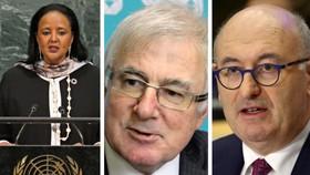 Nếu được bầu, Amina Mohamed ở Kenya, trái, sẽ trở thành người phụ nữ đầu tiên và là người châu Phi đầu tiên lãnh đạo Tổ chức Thương mại Thế giới. Nhưng bà có thể đối mặt với những thách thức từ Tim Groser, giữa, và Phil Hogan của Ireland. (Nguồn ảnh của R