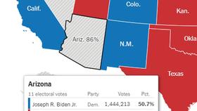 New York Times vẫn chưa tính Arizona cho Biden lúc 10:40 giờ VN.