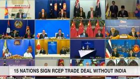 15 nước kí hiệp định RCEP, Ấn Độ không tham gia. Ảnh:NHK