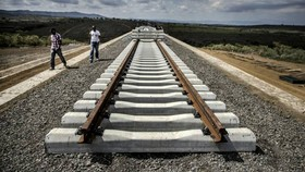 Tracks for the Standard Gauge Railway line in Kenya, financed through the Belt and Road initiative © Bloomberg