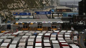 Trucks were already being held up at Dover port on Saturday. The UK's main freight link with the EU usually handles up to 10,000 lorries a day © ANDY RAIN/EPA-EFE/Shutterstock