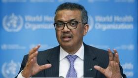 Tổng Giám đốc WHO Tedros Adhanom Ghebreyesus phát biểu trong cuộc họp báo tại trụ sở WHO ở Geneva. Ảnh: AP