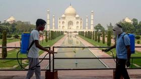 Công nhân làm vệ sinh khuôn viên của đền Taj Mahal. @ Pawan Sharma / AFP / Getty