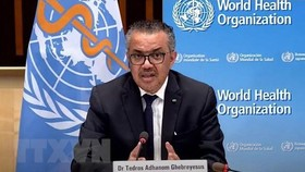 Tổng Giám đốc Tổ chức Y tế thế giới (WHO) Tedros Adhanom Ghebreyesus phát biểu trong cuộc họp báo tại Geneva, Thụy Sĩ. (Ảnh: THX/TTXVN).
