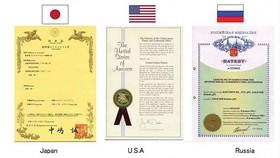 Bằng sáng chế được cấp tại Nhật Bản, Hoa Kỳ, Nga
