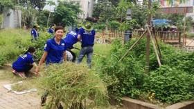 Các chiến sĩ Mùa hè Xanh cùng Đoàn Thanh niên Khu phố 4, phường Tăng Nhơn Phú A, Quận 9, TPHCM ra quân dọn dẹp vệ sinh môi trường. Ảnh: NGUYỄN VĂN THƯƠNG