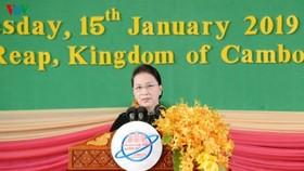 Chủ tịch Quốc hội Nguyễn Thị Kim Ngân phát biểu tại Diễn đàn APPF-27.Ảnh: VOV