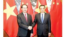 Chủ tịch nước Trần Đại Quang gặp Thủ tướng Trung Quốc Lý Khắc Cường. Ảnh:TTXVN