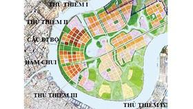 Theo quy hoạch, sẽ có 5 cây cầu và một hầm chui nối trung tâm và các quận với Khu đô thị mới Thủ Thiêm, Quận 2