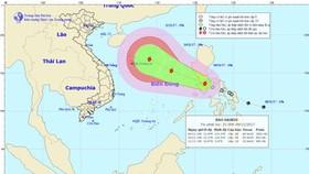 Vị trí và đường đi của bão Haikui. Ảnh: TT DBKTTVTƯ