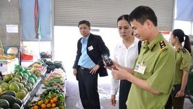 Lực lượng chức năng kiểm tra dư lượng thuốc bảo vệ thực vật trong trái cây bằng dụng cụ kit test nhanh