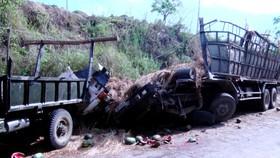Hiện trường vụ tai nạn, khiến xe 2 người tử vong tại chỗ