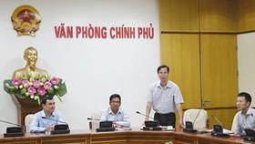 Ông Đỗ Ngọc Huỳnh (đứng) phát biểu trong một buổi lễ năm 2015. Ảnh: VGP