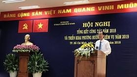 Ông Lê Thanh Liêm, Phó Chủ tịch Thường trực UBND TPHCM phát biểu tại hội nghị. Ảnh: VOH