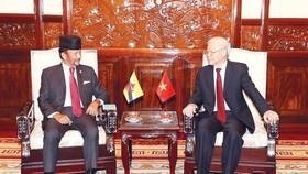 Tổng Bí thư, Chủ tịch nước Nguyễn Phú Trọng hội đàm hẹp với Quốc vương Brunei Hassanal Bolkiah. Ảnh: TTXVN