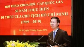 Trưởng Ban Tuyên giáo Trung ương Võ Văn Thưởng phát biểu kết luận hội thảo. Ảnh: VGP